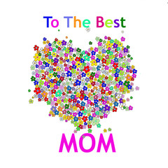 Mother's Day Card with Heart Colorful Flower