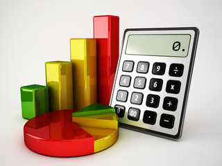 calculator statiscal graphics and financial pie