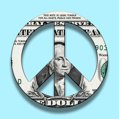 Dollar Banknote on Peace Symbol