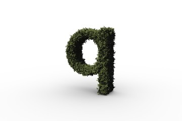 Lower case letter q made of leaves
