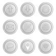 Basic silver internet icons set