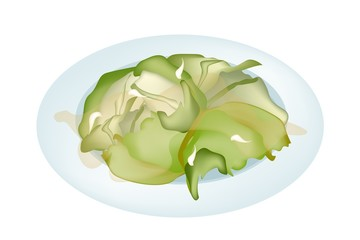 Stir Fried Cabbages on A White Plate