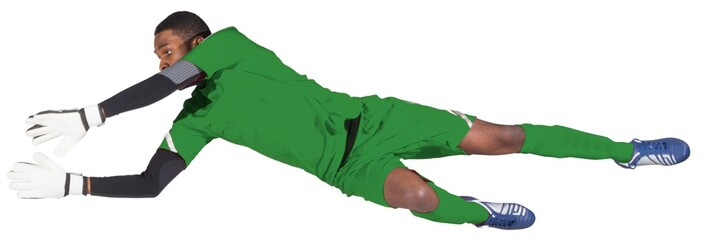 Goalkeeper in green making a save