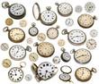 alte antike Uhren, Zifferblätter, Tachenuhren