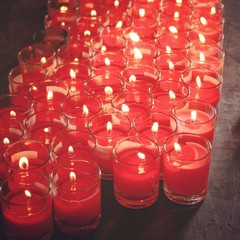 red candles and light