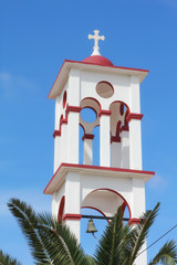 Bell tower of an Orthodox Church in Crete, Greece