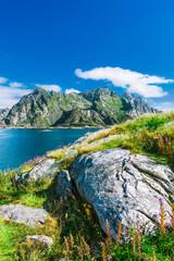 View to mountains in Lofoten, Henningsvaer, Norway