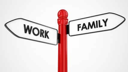 work or family directional signpost