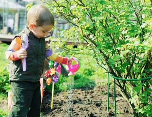 маленький мальчик работает в саду - поливает растения