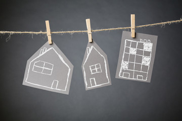 Residential Buildings Hanging with Clothespins