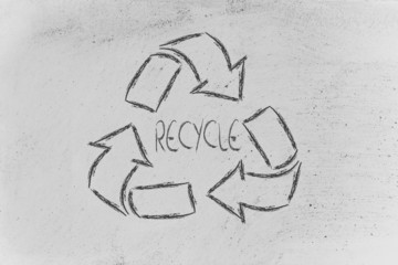 green economy: recycle symbol on blackboard