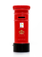 London iconic post box miniature on white