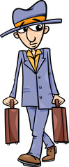 man with suitcases cartoon illustration