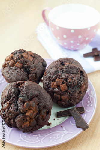 Homemade chocolate muffins with milk. Morning breakfast