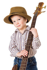 Little boy with rock guitar