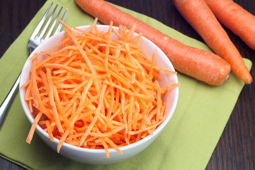Julienne carrots in white bowl