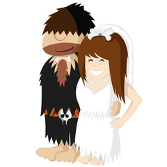 Happy prehistoric engaged caveman couple illustration.