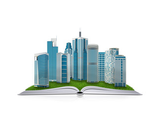On the pages of an book is grass and skyscrapers