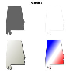 Alabama outline map set