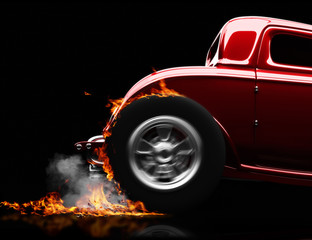 Hot rod burnout on a black background