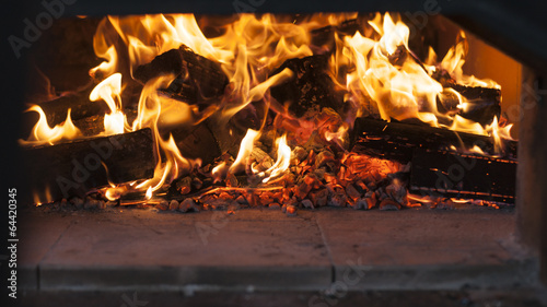 obraz lub plakat fire in a wood burning oven