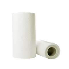 Paper towel rolls on white background