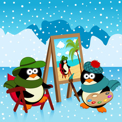 penguin artist fantasy - vector illustration