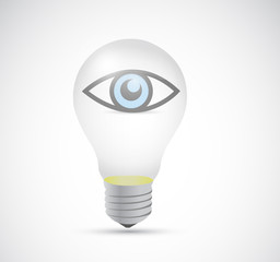 eye inside a light bulb. illustration design