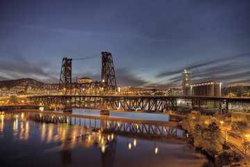 Steel Bridge Over Willamette River at Blue Hour