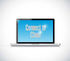 connect to cloud laptop message illustration