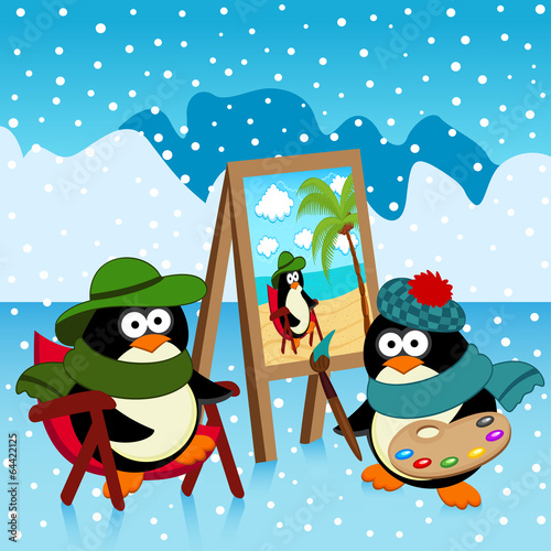 penguin artist fantasy - vector illustration
