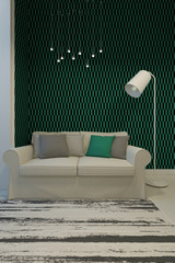 A 3d rendering of sofa in green room