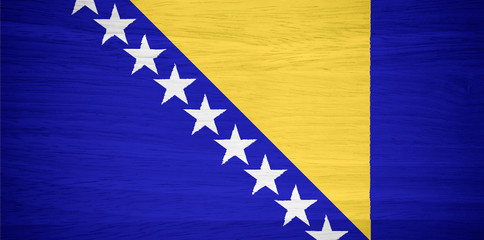 Bosnia and Herzegovina flag on wood texture