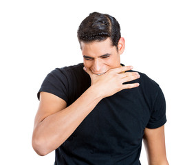 Stressed man Biting hand isolated on white background
