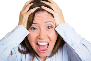 Stress, frustration. Headshot of hysterical middle aged woman