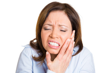 Tooth ache. Young woman having bad pain