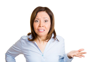 Portrait annoyed woman asking question whats you'r problem