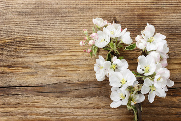 Flowering twig of apple tree on wooden background. Copy space