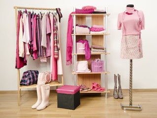 Dressing closet with pink clothes arranged on hangers and shelf.