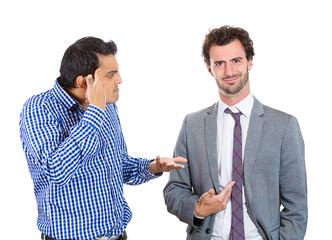 Are you crazy? men have arguments going through confrontation