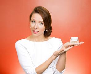 Woman Advertising face creams. Body care concept
