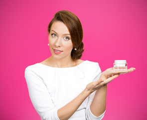 Woman Advertising face creams. Body care concept