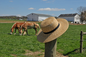 Amish hat on a farm fence post