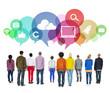 People Facing Backwards with Social Media Symbols