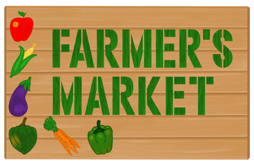 Farmer's Market Sign Painted on Wood Illustration
