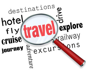 Travel Trip Planning Magnifying Glass Searching Destination Flig
