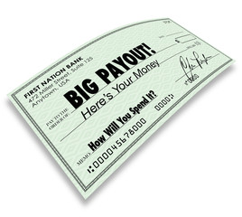 Big Payout Check Money Earnings Salary Commissions
