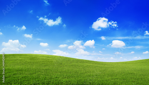 Foto op Canvas Heuvel Green Hills with Blue Sky