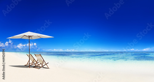 Deck Chair on the Trapical Beach