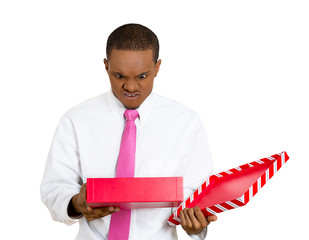 Bad gift idea. Man unhappy with his birthday present